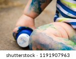 closeup of small child covered... | Shutterstock . vector #1191907963