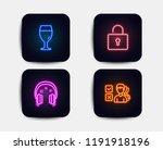 neon glow lights. set of lock ... | Shutterstock .eps vector #1191918196