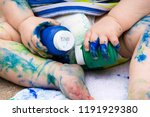 closeup of toddler covered in... | Shutterstock . vector #1191929380