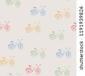 hand drawn colorful bicycles on ... | Shutterstock .eps vector #1191939826