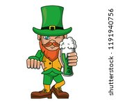 irish elf holding beer cup... | Shutterstock .eps vector #1191940756