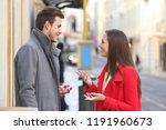 profile of a happy couple... | Shutterstock . vector #1191960673
