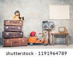retro teddy bear toy in aviator'... | Shutterstock . vector #1191964789