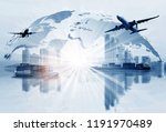 transportation  import export... | Shutterstock . vector #1191970489