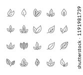 leaf flat line icons. plant ... | Shutterstock .eps vector #1191981739