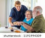 female doctor or nurse serving... | Shutterstock . vector #1191994309