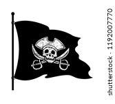 black piracy flag on a white... | Shutterstock . vector #1192007770