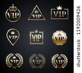 golden vip label set isolated... | Shutterstock .eps vector #1192009426