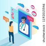 woman patient character calling ... | Shutterstock .eps vector #1192015546