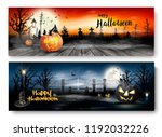two halloween spooky banners.... | Shutterstock .eps vector #1192032226