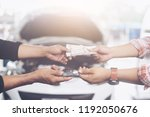 selective focus car key in hand ...   Shutterstock . vector #1192050676