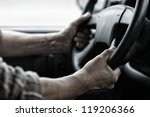 male driver hands holding... | Shutterstock . vector #119206366