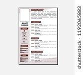 cv simple template | Shutterstock .eps vector #1192065883