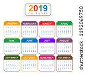 year 2019  beautiful calendar... | Shutterstock .eps vector #1192069750