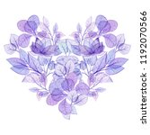 watercolor floral heart in... | Shutterstock . vector #1192070566