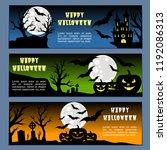 halloween banners leaflets blue ... | Shutterstock .eps vector #1192086313