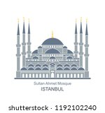 sultan ahmed mosque  istanbul ... | Shutterstock .eps vector #1192102240