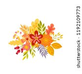 of hand drawn bouquets. floral... | Shutterstock .eps vector #1192109773