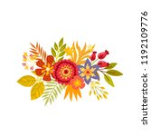 of hand drawn bouquets. floral... | Shutterstock .eps vector #1192109776