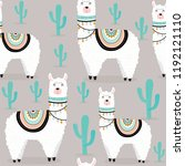 seamless cute awesome llama...   Shutterstock .eps vector #1192121110