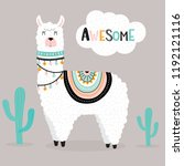 cute awesome llama with cactus... | Shutterstock .eps vector #1192121116