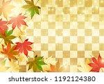 japanese autumn on gold... | Shutterstock .eps vector #1192124380