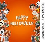 happy halloween card... | Shutterstock . vector #1192129516