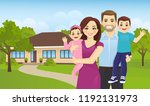 happy family portrait outside... | Shutterstock .eps vector #1192131973