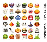 halloween emojis set. carved... | Shutterstock .eps vector #1192153486