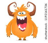 happy cartoon monster.... | Shutterstock .eps vector #1192161736