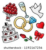 hand drawn doodle wedding save... | Shutterstock .eps vector #1192167256