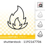 fire thin line icon. outline... | Shutterstock .eps vector #1192167706