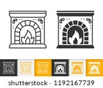 fireplace black linear and... | Shutterstock .eps vector #1192167739