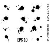 black ink paint spots. drops... | Shutterstock .eps vector #1192167766