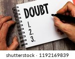 text sign showing doubt.... | Shutterstock . vector #1192169839