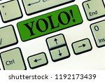 Small photo of Conceptual hand writing showing Yolo. Business photo showcasing stand for You only live once popular phase among students and teens