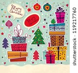 vintage christmas card with... | Shutterstock .eps vector #119217760