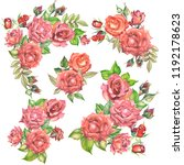 set of roses bouquets.watercolor | Shutterstock . vector #1192178623