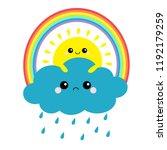 sun holding cloud  rainbow set. ... | Shutterstock .eps vector #1192179259