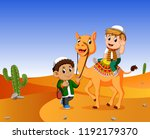 the boy ridding a camel in the... | Shutterstock . vector #1192179370