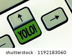 Small photo of Text sign showing Yolo. Conceptual photo stand for You only live once popular phase among students and teens