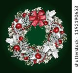 vector christmas wreath.... | Shutterstock .eps vector #1192190653