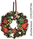 vector christmas wreath.... | Shutterstock .eps vector #1192199746