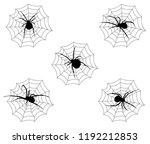 spider venomous on its web nest ... | Shutterstock .eps vector #1192212853