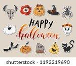 halloween design hand drawn set ... | Shutterstock .eps vector #1192219690