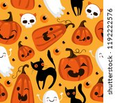 halloween seamless pattern with ... | Shutterstock .eps vector #1192222576