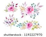 watercolor flowers illustration.... | Shutterstock . vector #1192227970
