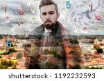city background and... | Shutterstock . vector #1192232593