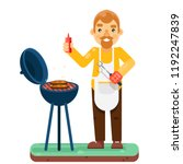 bbq man cook barbecue meat...   Shutterstock .eps vector #1192247839