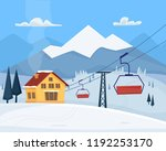 ski resort with lift  house and ... | Shutterstock .eps vector #1192253170